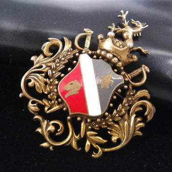 Fleur De Lis Lion Dragon Crown Shield Brooch, Vintage Fashion Jewelry Figural Pin, 1950's 1960's Collectible