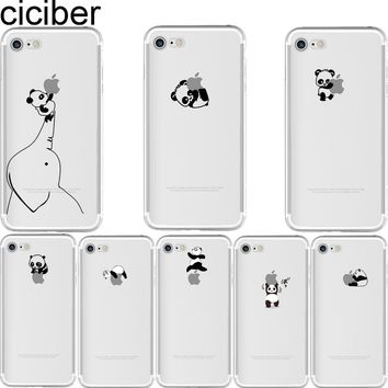 ciciber Phone cases Animal Interesting Pandas Pattern soft silicon case cover For iPhone 6 6S 7 8 plus 5 5S SE X Capinha Coque