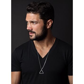 Silver Triangle Necklace for Men