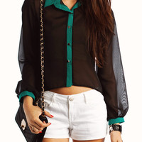 semi-sheer-button-up-blouse BLACKJADE TANNAVY WHITEBLACK - GoJane.com