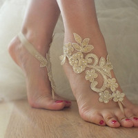 Champagne Barefoot , french lace sandals, wedding anklet, Beach wedding barefoot sandals, embroidered sandals.
