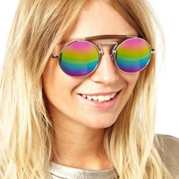 ASOS Round Sunglasses With Bridge Detail And Metal Highbrow