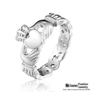 2017 Engagement Ring Designer Ladies Claddagh Party Rings Stainless Steel Rings For Women (Silveren RI101274)