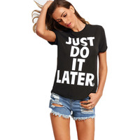 letters printed round neck black short-sleeved T-shirt