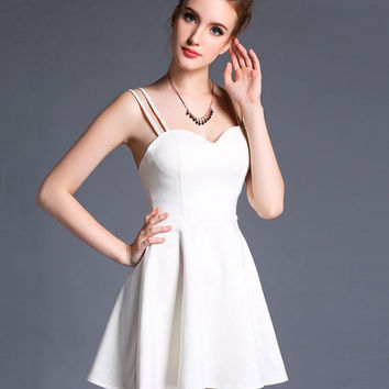 Shop White Sweetheart Neckline Dress on Wanelo