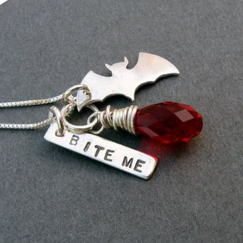 sterling silver bat pendant necklace Bite Me by visionquest