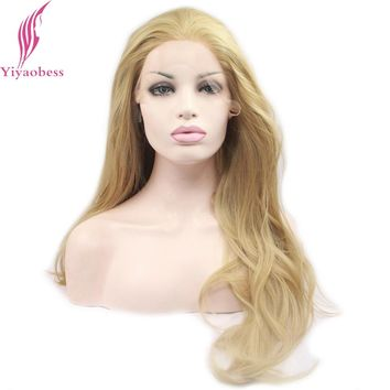 Yiyaobess Blonde Lace Front Wig Synthetic Hair Styles Heat Resistant Long Wavy Wigs For African American Women