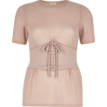 Nude corset front fitted T-shirt