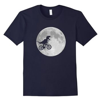 Dinosaur Bike and Moon shirt retro 80's funny t-shirt