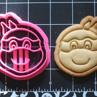 TMNT Inspired Smiling Turtle Cartoon Cookie Cutter Stamp Set BPA FREE Teenage Mutant Ninja Turtles Inspired