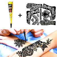 M-theory  1 pcs Black Henna + Full Stencil, Mehndi Henna Tattoo Cones Temporary Flash Tattoo Body Paint Arts