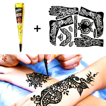 M-Theory Henna + Full Tattoo Stencil Mehndi Black Henna Tattoo Paste Cone Temporary Flash Tattoo Body Art Paint Wedding Product