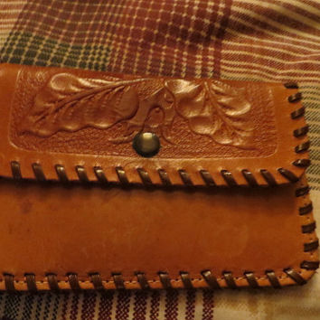 Vintage hand tooled leather coin chage purse