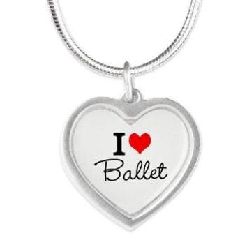 I Heart Ballet Silver Heart Necklace
