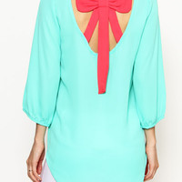 Mint Bow Back Top