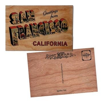 Wood Postcard Greetings From San Francisco