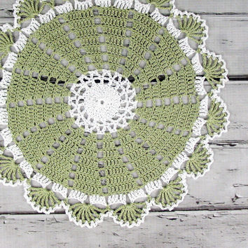 Lovely Crocheted Sage Green White Doily - 10 by ronisboutique on Zibbet