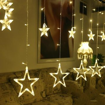 Fashion Christmas Light Bulbs Globes Decor Five-pointed Star Fairy String Lights LED Lamps Christmas Party Balls 220V 110V