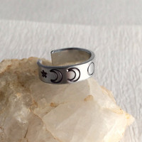 """The 'Madison"""" Moon Phases Stamped Ring, aluminum silver metal adjustable band wide moons celestial unisex birthday friendship gift gifts"""