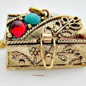 Treasure Chest Pendant on Chain Necklace  1974 by vintagejewelry