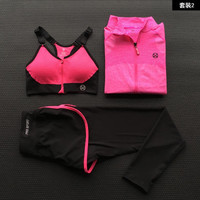 Women Yoga Sets Sexy Shockproof Sports Pattern Bra+Outdoor Running Fitness Ladies Shirts+Tights High Stretch Slim Sports Pants