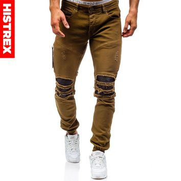2018 HISTREX Mens Jeans Brown Coffee Khaki Jean Destroyed Slim Denim Straight Biker Skinny Hiphop Ripped Motorcycle Pant HJ0ZTX#