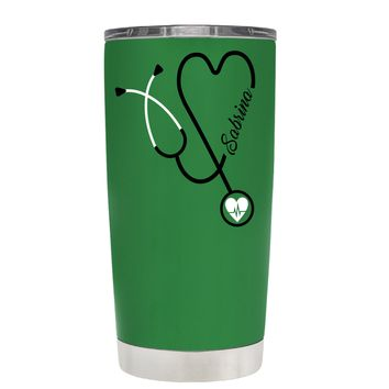 Personalized White Stethoscope Nurse Heart on Kelly Green 20 oz Tumbler Cup