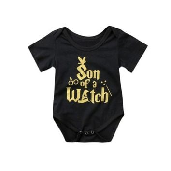 Funny Kids Baby Romper Newborn Baby Boy Short Sleeve Letter Romper Jumpsuit Clothes Outfits
