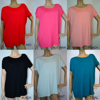 Piko Slouchy Short Sleeve Bamboo Tops - Many Colors T2195