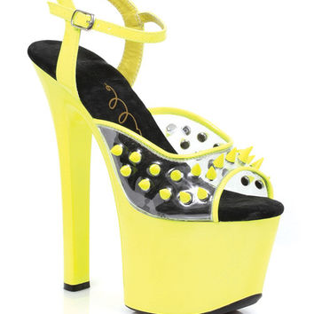 "Ellie Shoes Olar 7"" Neon Platform Black Light Reactive Spikes Yellow Ten"