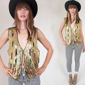80s Couture Gold Sequined Rocker Vest Size Small S M | Unisex Vintage Funky Sparkly Waistcoat | Indie Deep V Party Top | Silk Beaded Vest XS