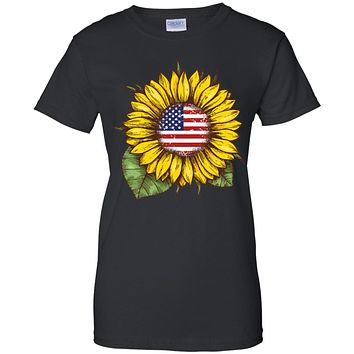 Hippie Sunflower American Flag 4th Of July