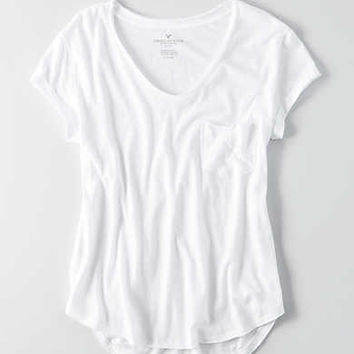 AEO Pocket Crew T-Shirt , White