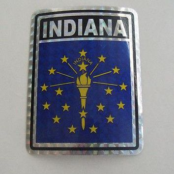 "Indiana Flag Reflective Sticker 3""x4"" Inches Adhesive Car Bumper Decal"