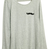 ROMWE | Mustache Print Grey T-shirt, The Latest Street Fashion
