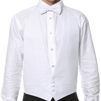 Premium White Pique 100% Cotton Backless Tuxedo Vest & Bow Tie / FIT ALL (S-XL)