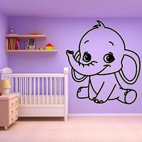 Wall Sticker Vinyl Decal For Kids Room Baby Elephant Nursery Animal Unique Gift (ig647)