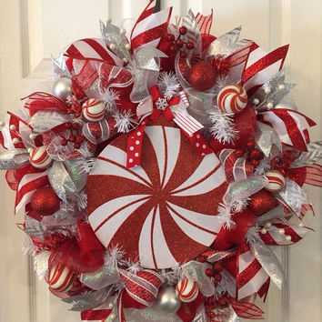 Christmas Wreath,Holiday Wreath,Red White Christmas,Christmas Mesh,Christmas Deco Mesh,Holiday Mesh,Holiday Deco Mesh,Christmas Front Door