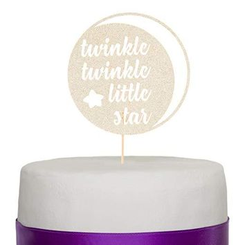 Twinkle Twinkle Little Star Paperboard Cake Topper - Light Gold
