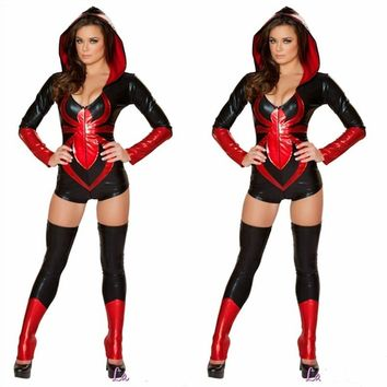 Novelty Spider Women Costume Red Blue Zentai Suit Sexy Girls Halloween Cosplay Costume Women Spideman Jumpsuit