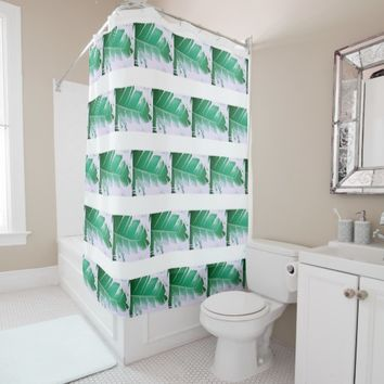 Stylish Wild Banana Green Leaves Shower Curtain