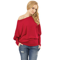 New Brand Cotton Long Batwing Sleeve Round Neck One Shoulder Causal winter T-shirt