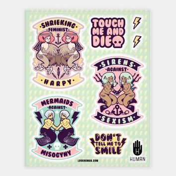 Mermaids Harpies and Sirens Against the Patriarchy   Stickers, Sticker Sheets and Vinyl Stickers   HUMAN