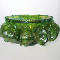 Punch Bowl Set Harvest Princess Green Carnival Glass, Service for 12 Serving Set, Indiana Glass Company