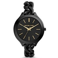 Slim Runway Shiny Black Chain-Link Watch | Michael Kors
