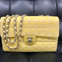 Chanel Quilted Yellow Bag