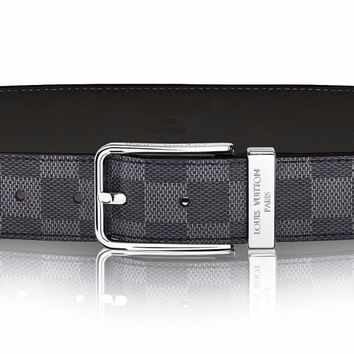 LOUIS VUITTON MENS DAMIER GRAPHITE BELT SIZE 85 PONT NEUF 35MM RECEIPT AUTHENTIC