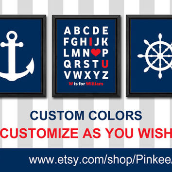 alphabet I love you nursery nautical kids wall decor baby boy nursery baby name art abc I love you anchor wheel kids art boy gifts navy red