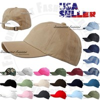 Cotton Hat Baseball Cap Adjustable Washed Style Plain Blank Visor Hats Caps Dad