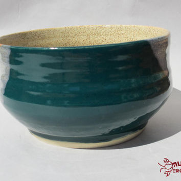 Ceramic Bowl - Medium Size, Teal and Tan